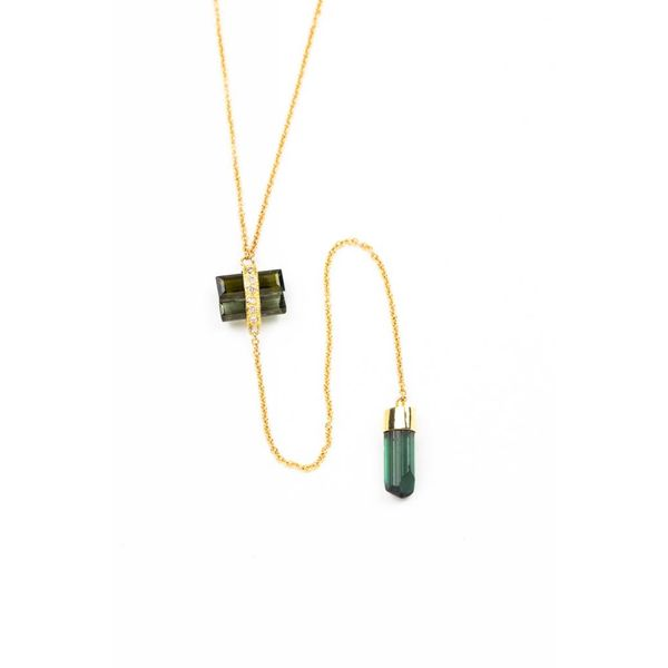 14K + PAVE + TOURMALINE Y NECKLACE