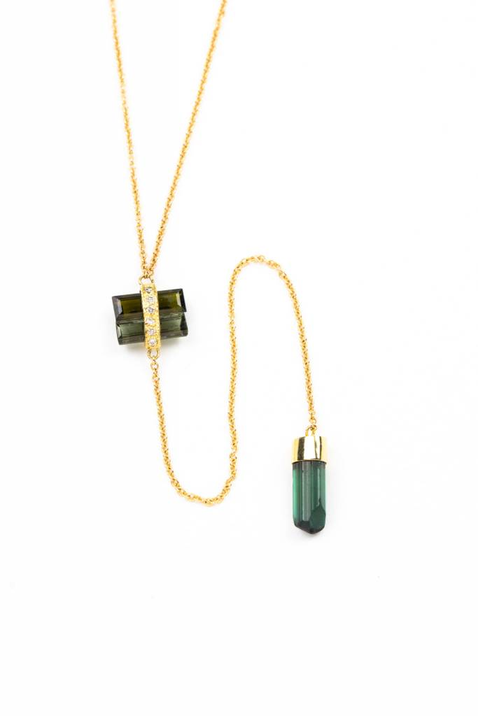 Jacquie Aiche 14K + PAVE + TOURMALINE Y NECKLACE