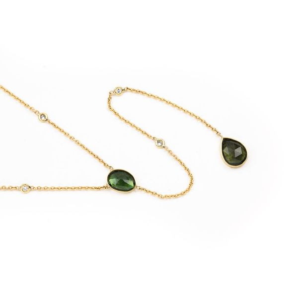 2 Tourmaline + 4 Diamond Y Necklace