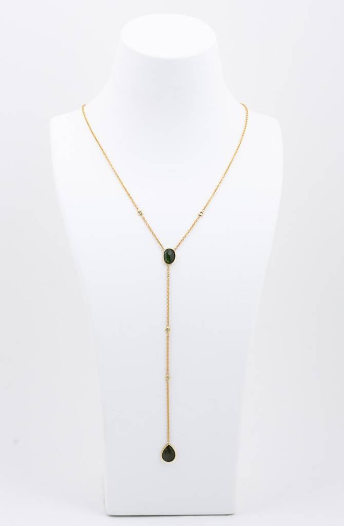 2 Tourmaline + 4 Diamond Y Necklace