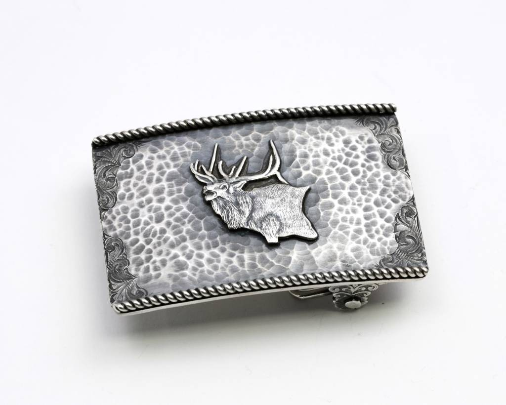 Clint Orms Rectangular Sterling Silver Trophy Buckle with Elk