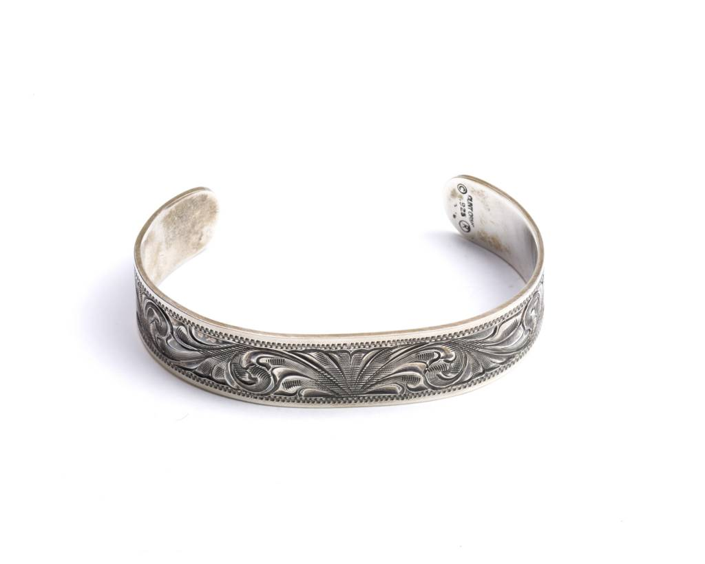 Clint Orms Engraved Sterling Silver Cuff