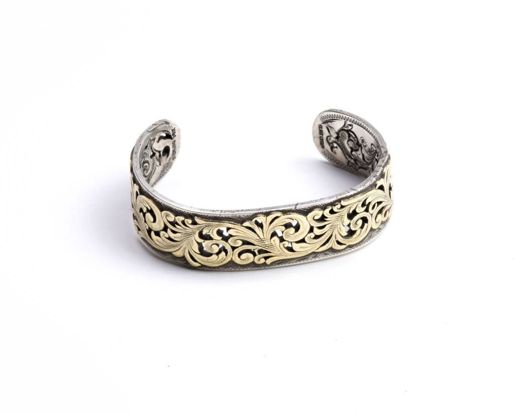 Clint Orms Sterling Silver Bracelet 14k Yellow Gold Overlay