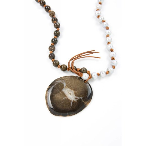 Silver Pearls + Bronzite Gemstone Rounds + Petrified Wood/Quartz Pendant Necklace