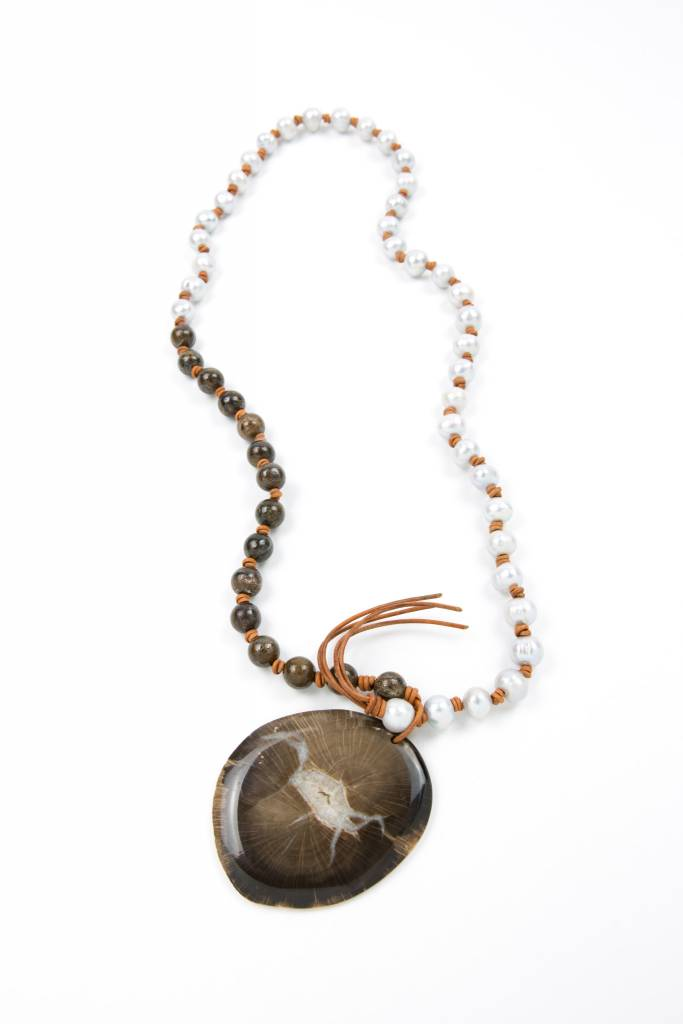 Carol Penn Silver Pearls + Bronzite Gemstone Rounds + Petrified Wood/Quartz Pendant Necklace