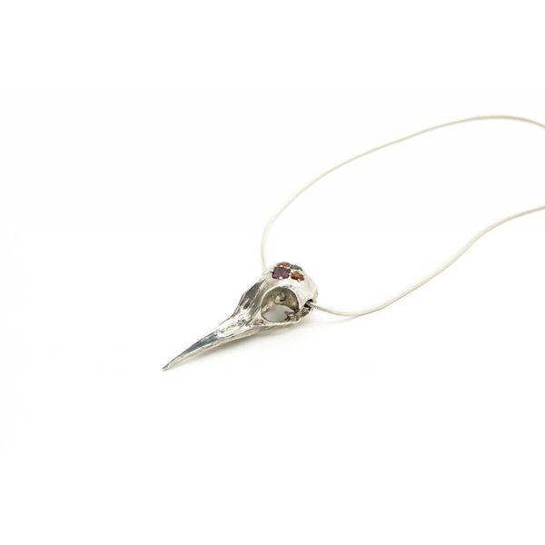 Garnet Crane Skull Necklace