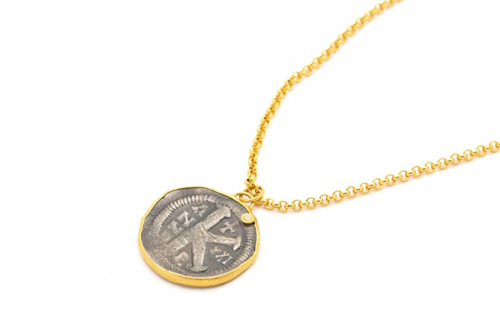 Kurtulan coin pendant diamond on 24k gold chain slate gray gallery coin pendant diamond on 24k gold chain aloadofball Image collections