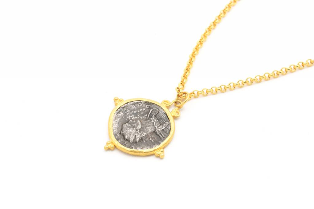 Kurtulan coin pendant on 24k gold chain slate gray gallery coin pendant on 24k gold chain aloadofball Image collections
