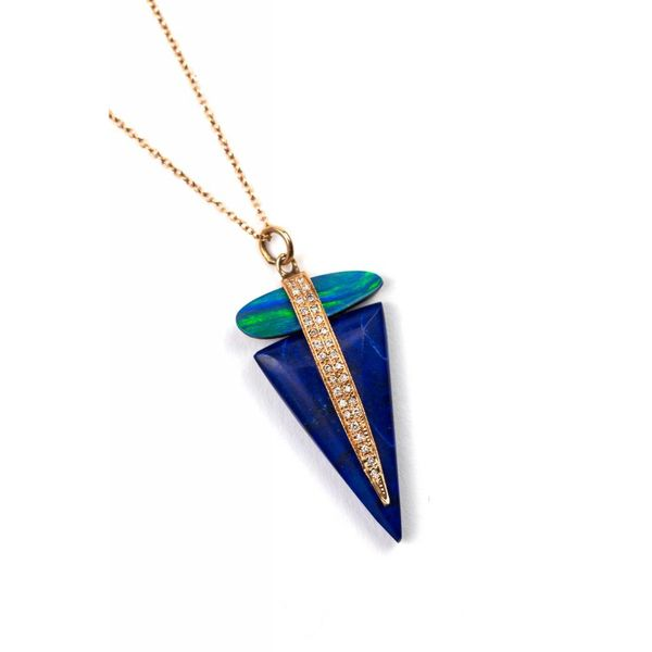 PAVE DIAMOND + OPAL BAR + LAPIS TRIANGLE Necklace