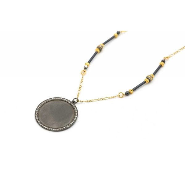 Oxidized Silver Disc-Rimmed Necklace