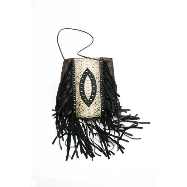 GA Studded Rocker Pouch - Chocolate/Natural Python