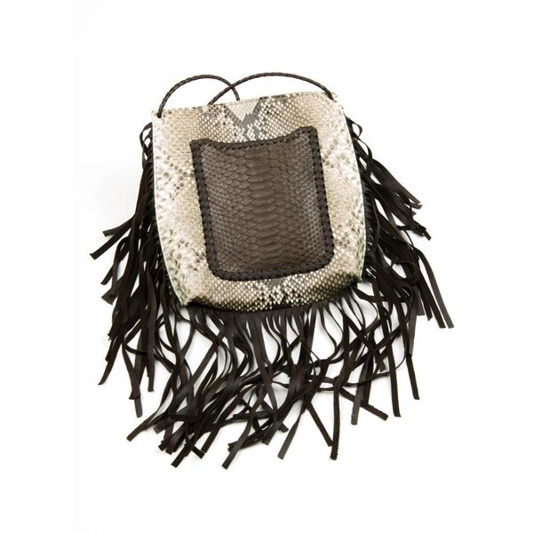 GA Thonged Pouch - Brown Pocket w/ Fringe