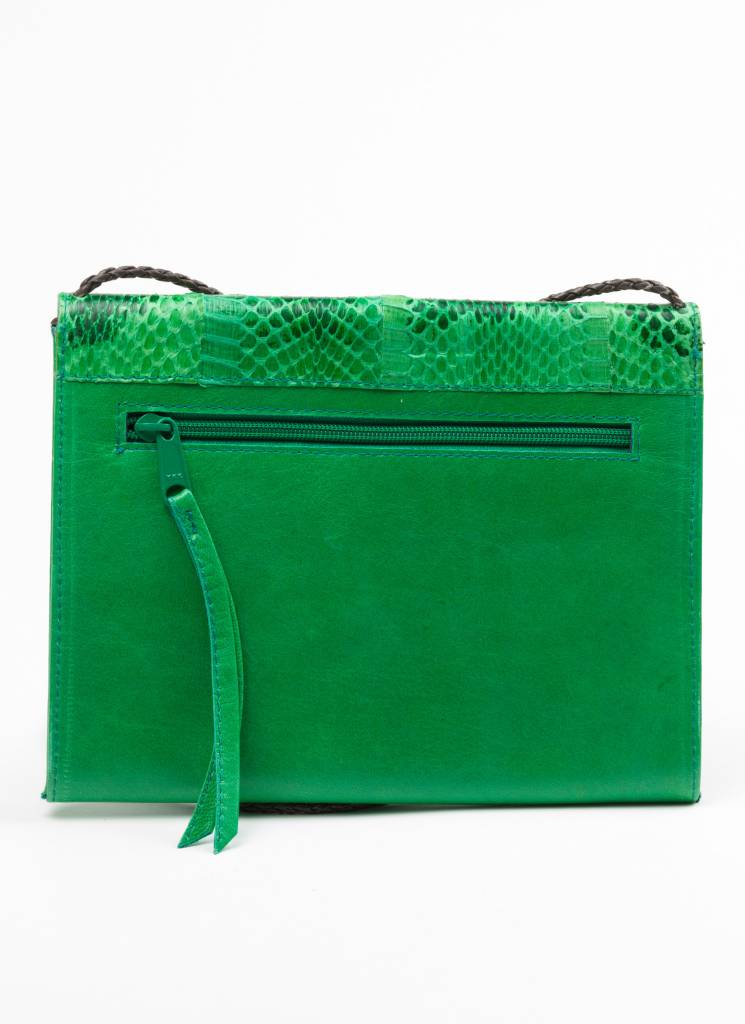 Emerald Green Snakeskin + Leather Purse