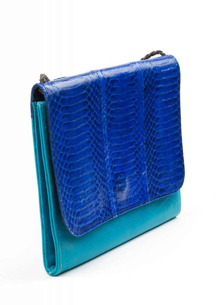 Turquoise Snakeskin + Leather Purse