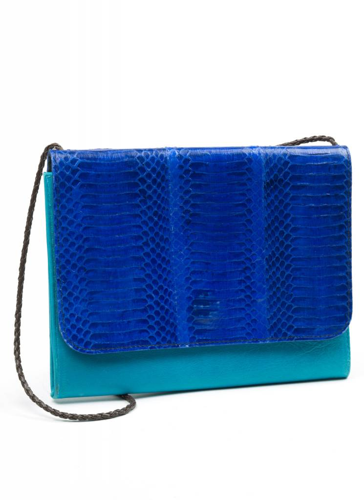 GaBaG Turquoise Snakeskin + Leather Purse