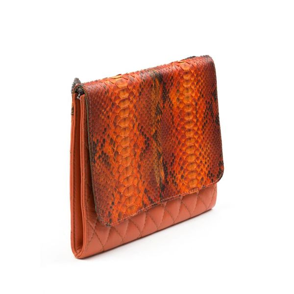 Orange Snakeskin + Leather Purse