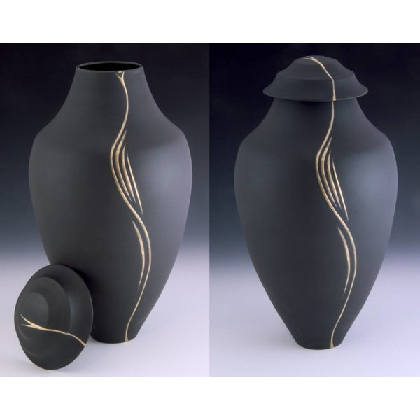 Ebony Porcelain Vase + Lid