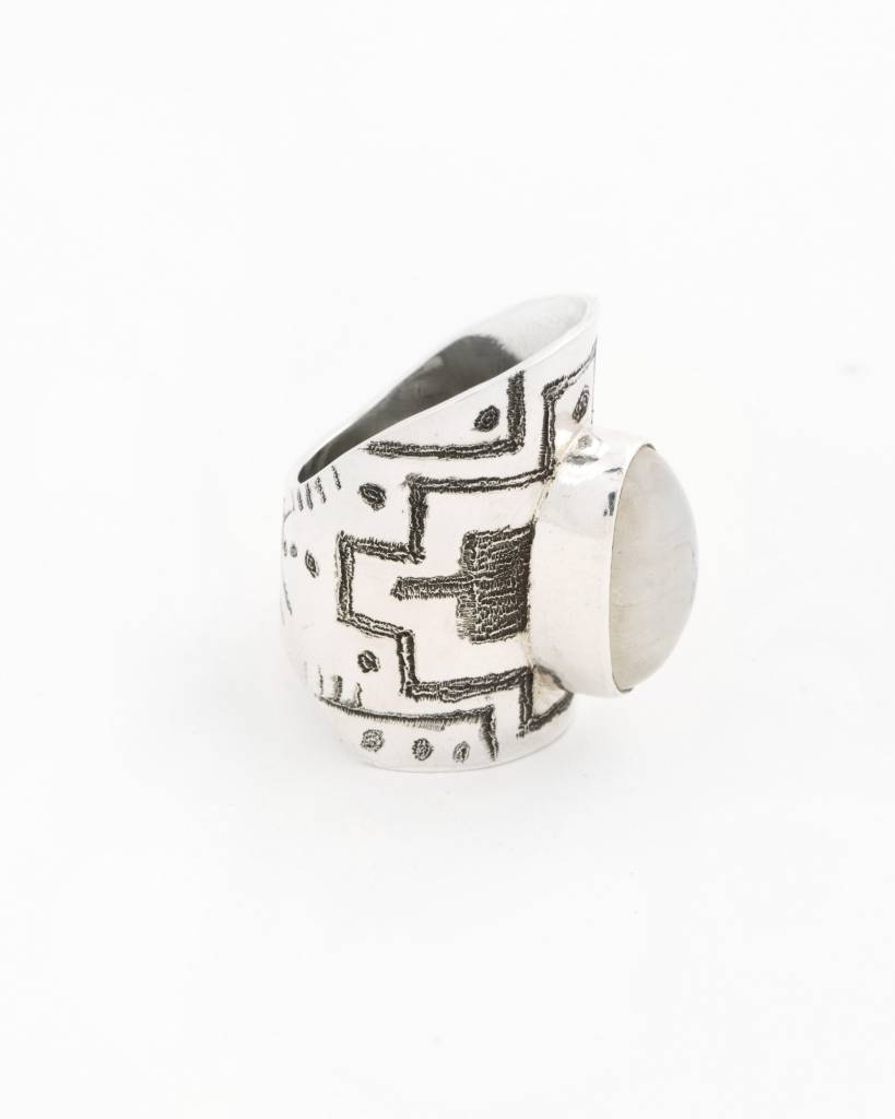 Moon Map - Cutout Aztec Style Ring