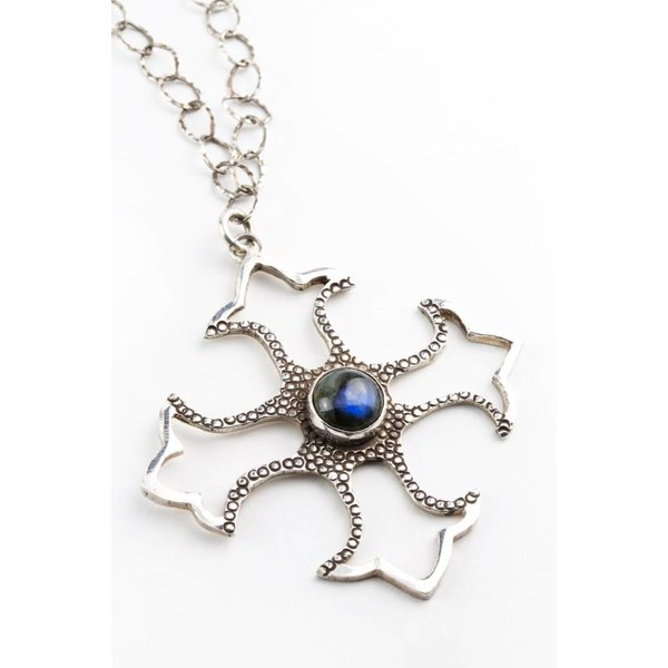 Blue Madonna Cross - Pendant with Chain