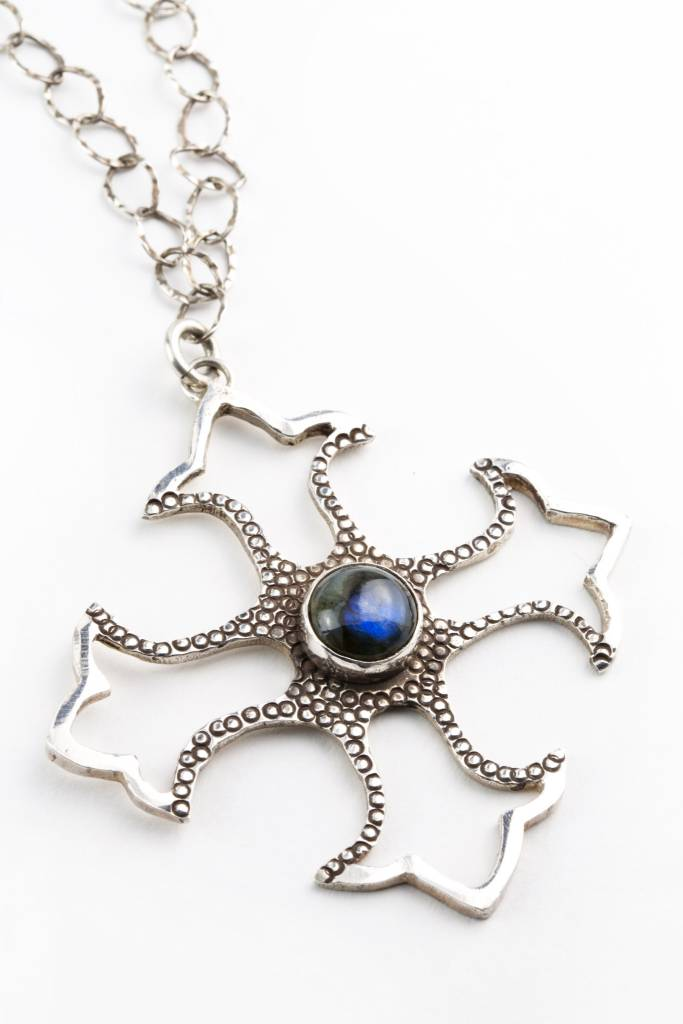 Blue Madonna Cross-pendant with chain