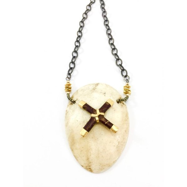 Papau New Guinea Shell + Gold X Necklace