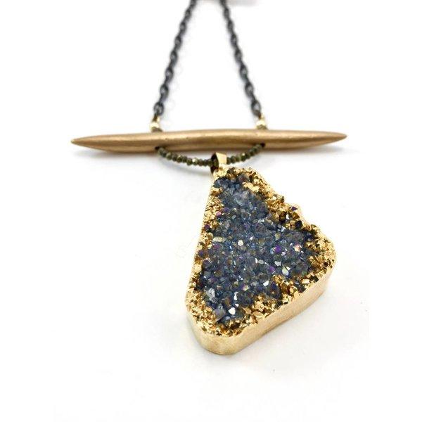 Druzy Pendant + Bronze Spike on Ox Chain