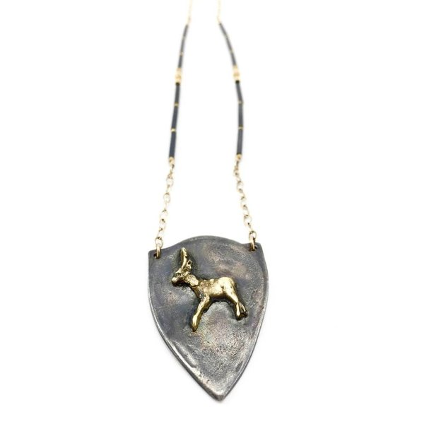 Silver Shield + 22K Deer Necklace