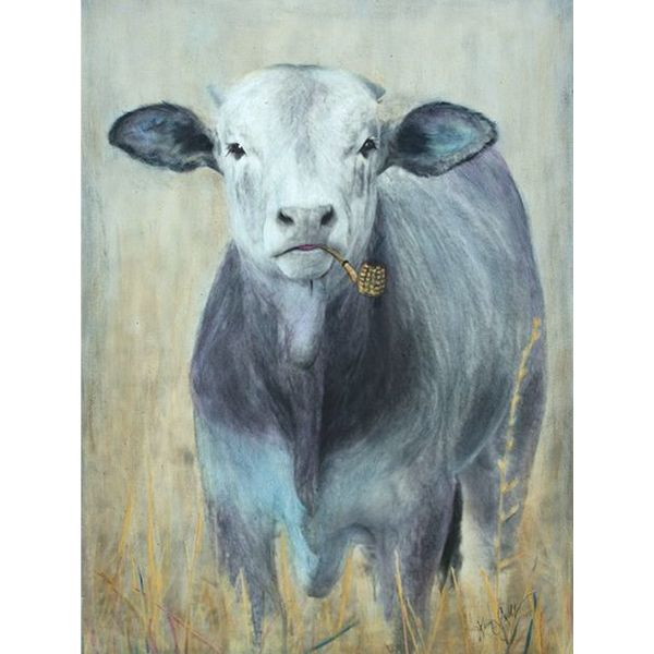 CALF WITH CORN COB PIPE *SOLD*
