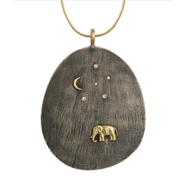 SILVER TSAVO NIGHTS ELEPHANT PENDANT