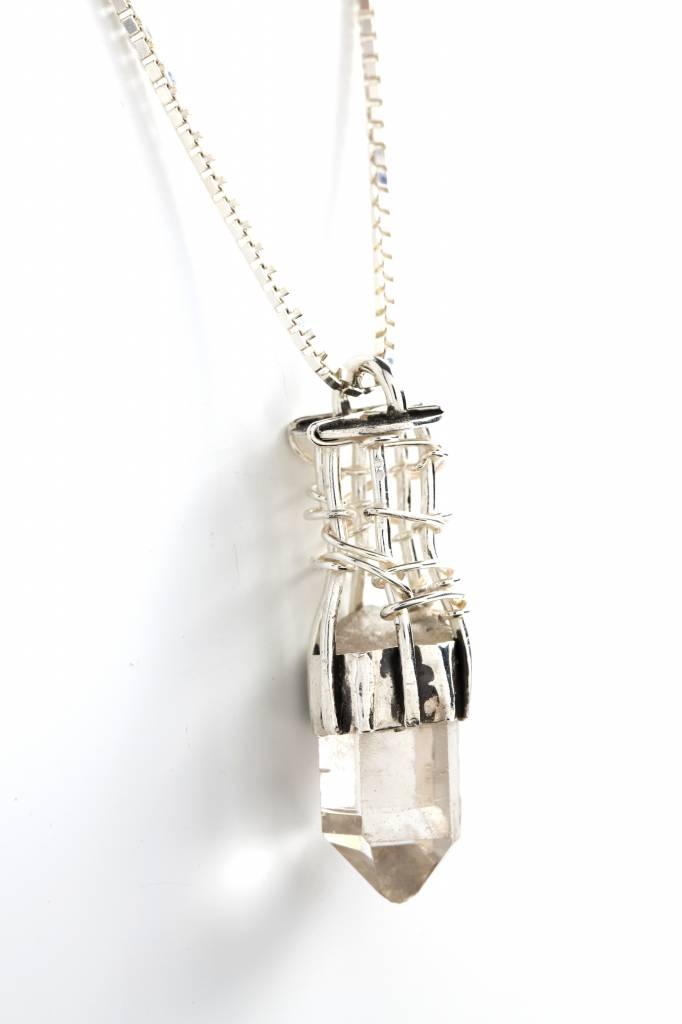 Quartz Crystal Pendant with Box Chain