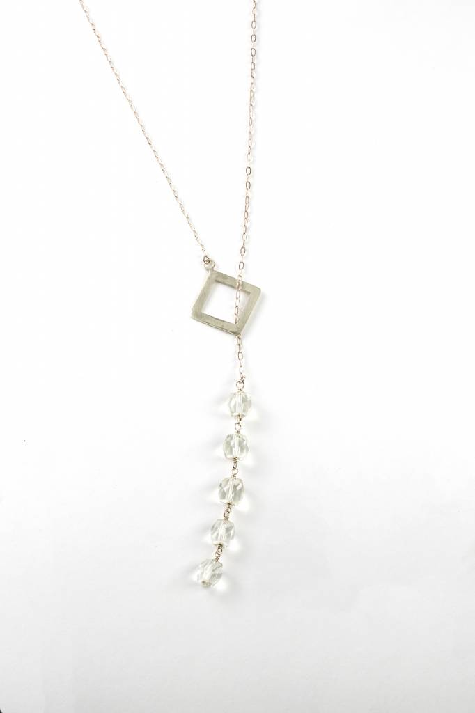 Drop Pendant with Faceted Quartz Crystal Beads