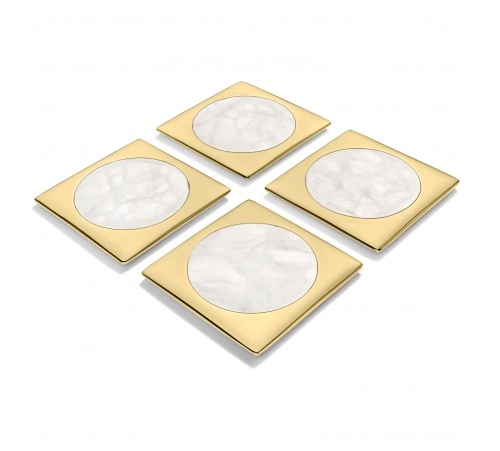ANNA new york by RABLABS Circulo Coasters - Bianco Venato Gold