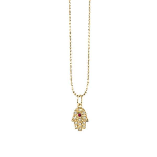 Baby Hamsa + Ruby Center Necklace