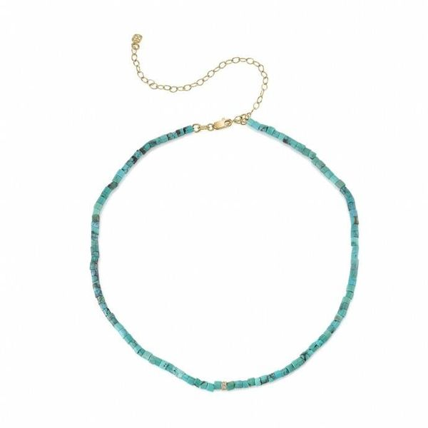 Small Pave Rectangle Bead Necklace