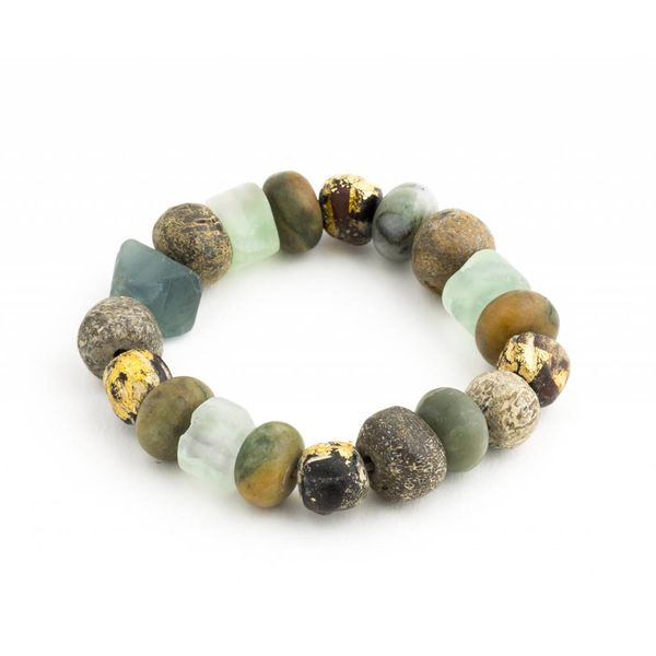 Apatite and Various Stone and Bone Beaded Bracelet