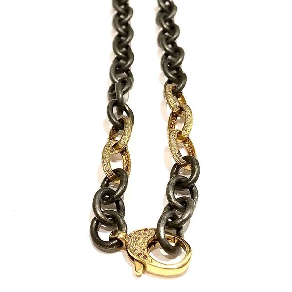 GOLD + OXIDIZED SILVER CHAIN WITH PAVE DIAMONDS