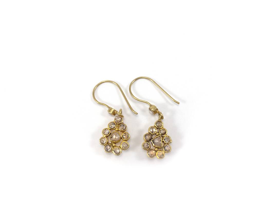 Rose Cut Diamond Teardrops with 19K Gold Earrings