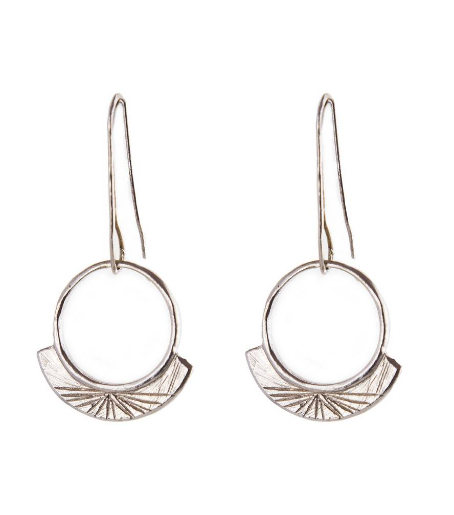 Light Sterling Silver Engraved Earrings
