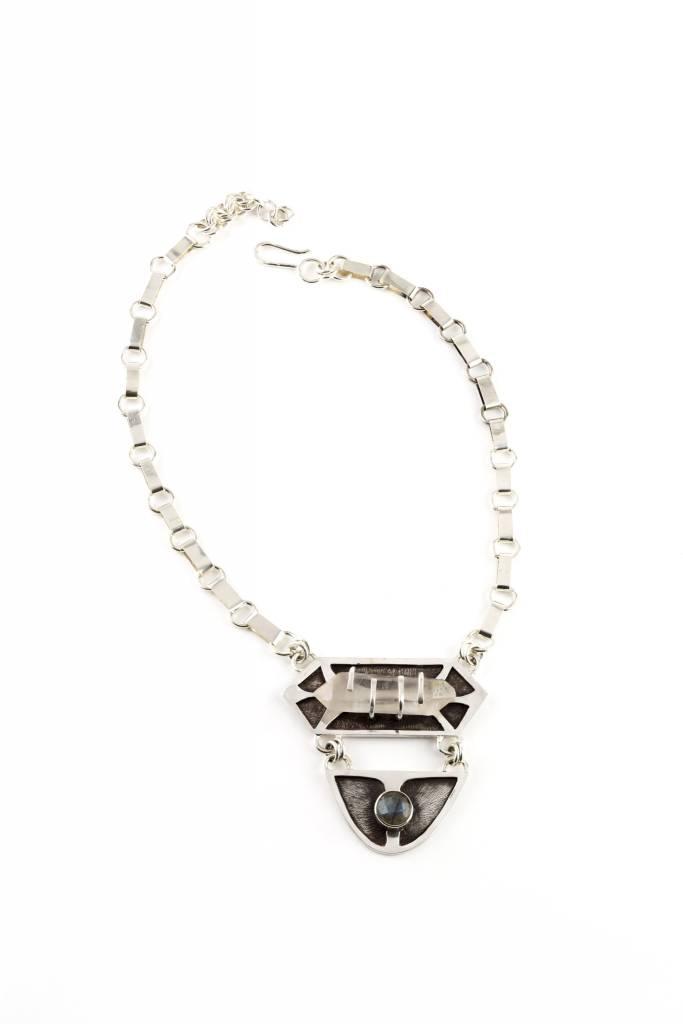 Quartz Crystal Oxidized Silver with Labrodite Stone