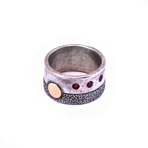 Sterling Silver Ring with 18K Gold Disc + 3 Orange Sapphires
