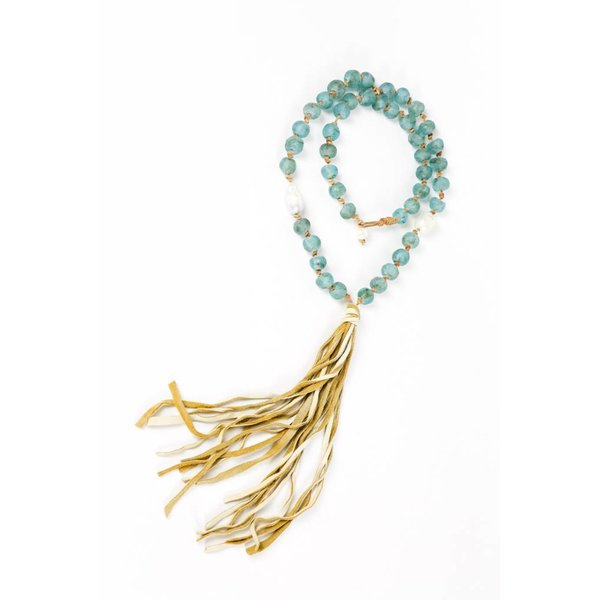 AFRICAN GLASS + DEERSKIN TASSEL NECKLACE