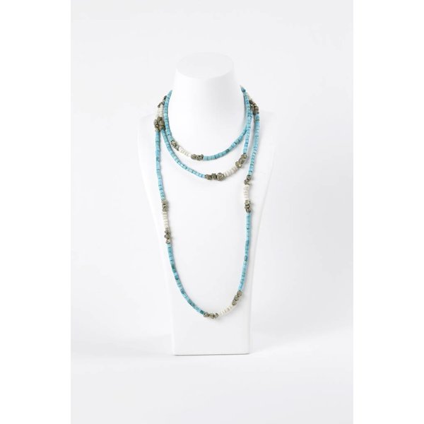 Long Turquoise with African Glass Pyrite
