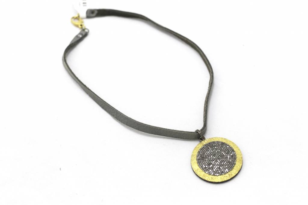Pave Diamond Disc on Grey Buckskin