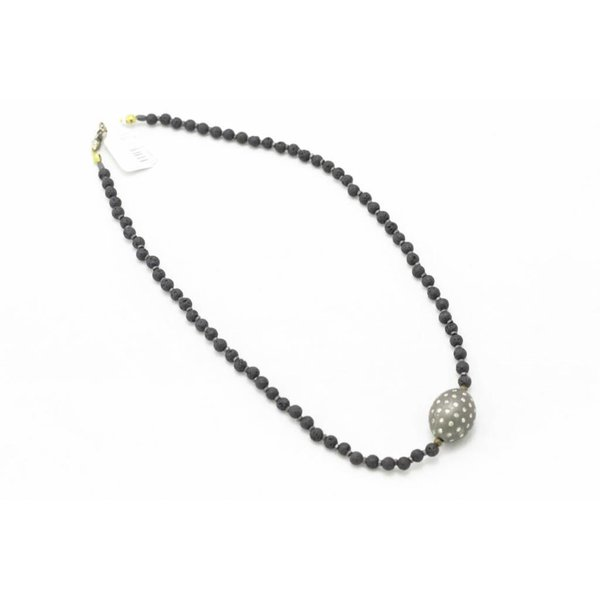 Lava Bead, Hematite Bead, Pave Diamond Necklace