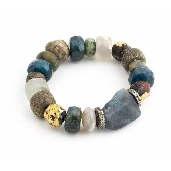 Stegodon, Apatite, Jade, Fluorite Bracelet