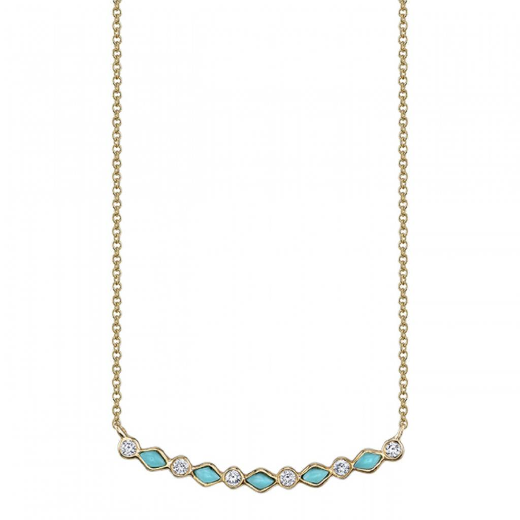 Turquoise Diamond Bezel Curved Bar Necklace