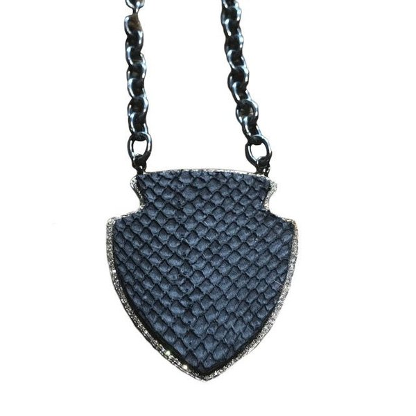 Salmon Skin Shield with Pave Diamonds Necklace