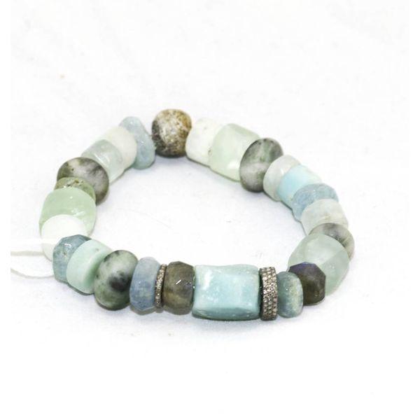 Amazonite, Aquamarine, Pave Diamond Bracelet