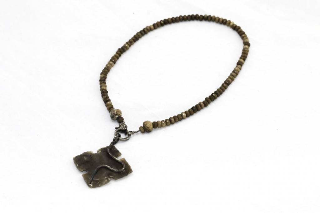 Coffee Jade Beads, Jasper Pave Diamond Pendant Necklace