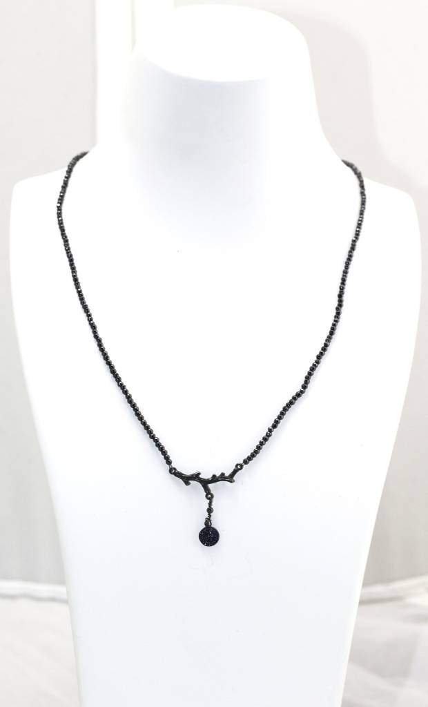 Hematite, Oxidized Silver Branch Finding & Sapphire Pave Pendant Necklace